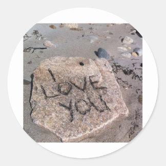 I love you rock classic round sticker