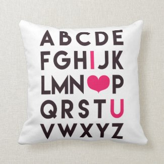 I LOVE YOU - Romantic Alphabet Throw Pillow