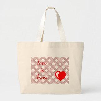 I love you romantic illustration large tote bag