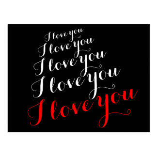 'I love you' romantic words Postcard