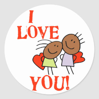 I Love You Round Stickers