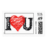 I Love You Scribble Postage Stamp