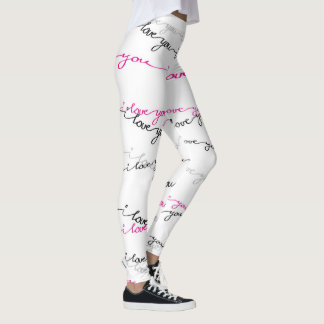 I Love You -Script-Pink & Black Leggings