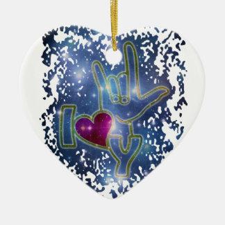 I LOVE YOU / sign language Ceramic Ornament