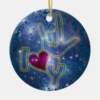 I LOVE YOU / sign language | dark blue splatter Ceramic Ornament