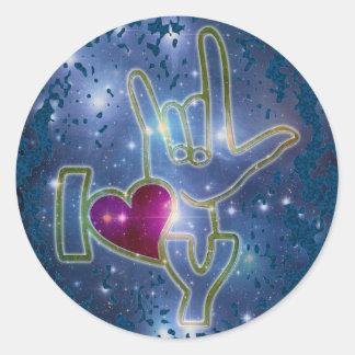 I LOVE YOU / sign language | dark blue splatter Classic Round Sticker