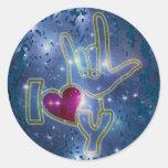 I LOVE YOU / sign language | dark blue splatter Round Sticker