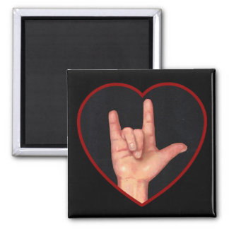 I LOVE YOU SIGN LANGUAGE ON BLACK 2 INCH SQUARE MAGNET