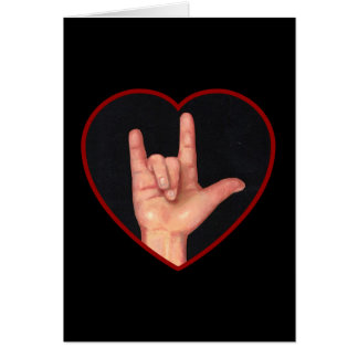 I LOVE YOU SIGN LANGUAGE ON BLACK GREETING CARDS