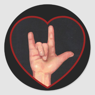 I LOVE YOU SIGN LANGUAGE ON BLACK CLASSIC ROUND STICKER