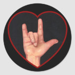 I LOVE YOU SIGN LANGUAGE ON BLACK CLASSIC ROUND STICKER