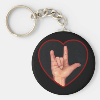 I LOVE YOU SIGN LANGUAGE ON BLACK KEYCHAIN