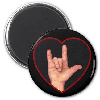 I LOVE YOU SIGN LANGUAGE ON BLACK MAGNETS