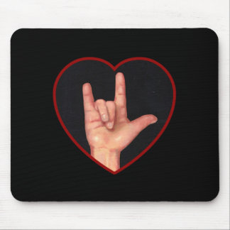 I LOVE YOU SIGN LANGUAGE ON BLACK MOUSE PAD