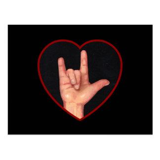 I LOVE YOU SIGN LANGUAGE ON BLACK POST CARD