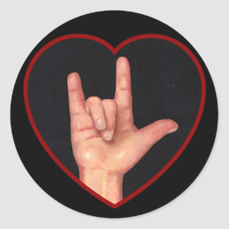 I LOVE YOU SIGN LANGUAGE ON BLACK STICKER
