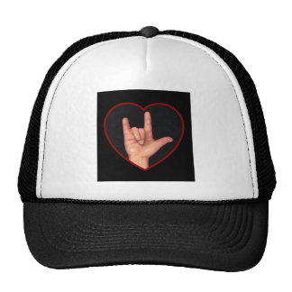 I LOVE YOU SIGN LANGUAGE ON BLACK TRUCKER HAT