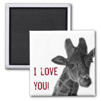 """""""I love you"""" sign with graphic giraffe 2 Inch Square Magnet"""
