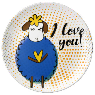 """""""I love you"""" sign with graphic retro grunge Plate"""