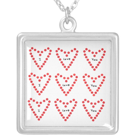 I Love You Silver Plated Necklace