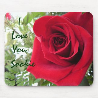 I Love You - Single Red Rose mousepad