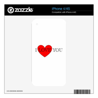 I LOVE YOU SKIN FOR iPhone 4S