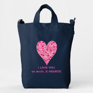 I love you so much it hearts Tiny Hearts Big Heart Duck Bag