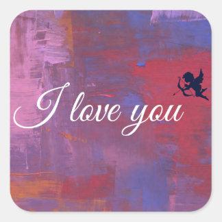 I love you square sticker