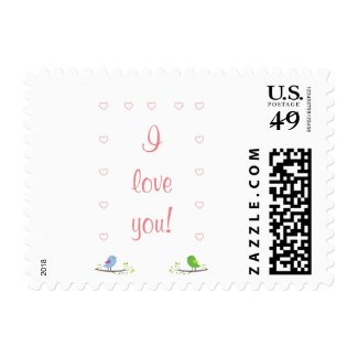 I love you! stamp with birds and hearts