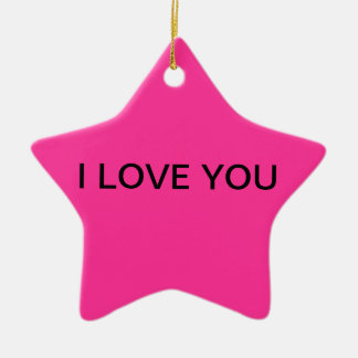 """""""I LOVE YOU"""" Star Shaped Ornament in Pink"""