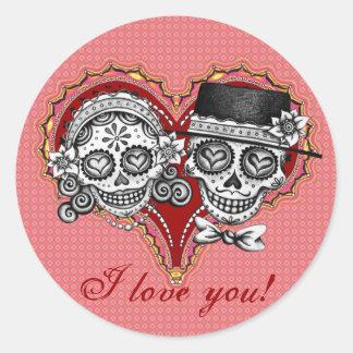 I LOVE YOU! Sugar Skull Stickers