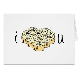 I Love You Sweet Cinnamon Roll Heart Personalized Card