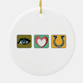 I Love You Symbols Double-Sided Ceramic Round Christmas Ornament