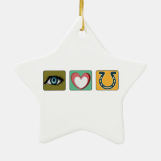 I Love You Symbols Double-Sided Star Ceramic Christmas Ornament