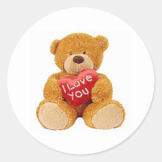 I Love You teddy bear Classic Round Sticker
