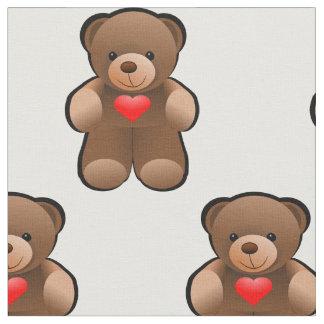 I love you Teddy Bear Print Fabric