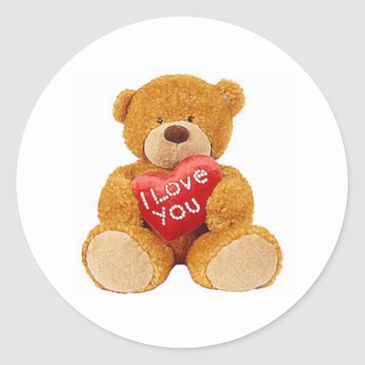 I Love You teddy bear Stickers