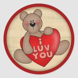 I Love You Teddy Bear T-shirts and Gifts Round Sticker
