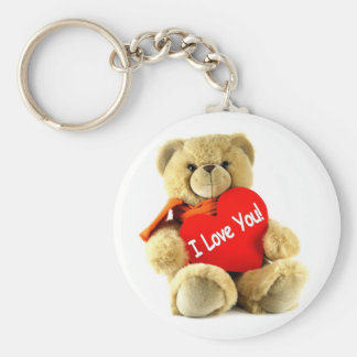 I love you, teddy love, by healing love basic round button keychain