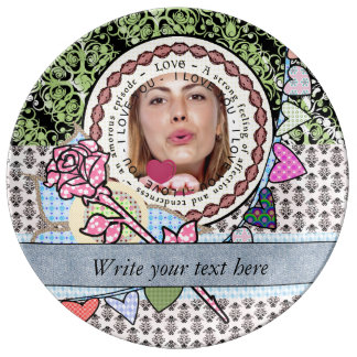 I love you template photo and text Porcelain Plate