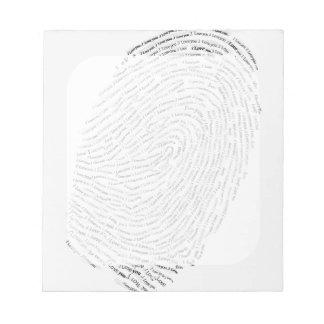 I love you text design thumbprint seal notepad