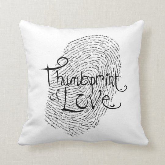 I love you text design thumbprint seal throw pillow