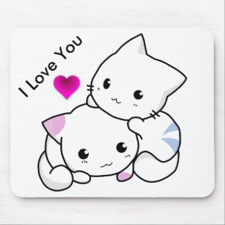 I Love You Text With 2 Kittens And Pink Heart Mouse Pad