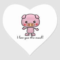 I Love You This Much Pig Heart Sticker