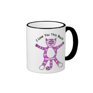 """""""I Love You This Much"""" Pink Cat Mug"""