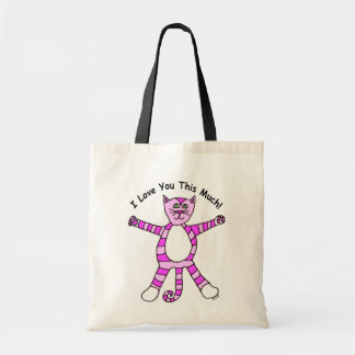 """""""I Love You This Much"""" Pinky Cat Tote Bag"""