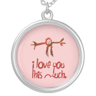I Love You This Much Silver Plated Necklace