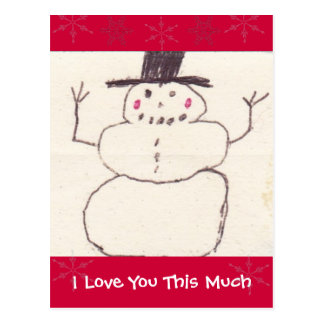 I Love You This Much Snowman Postcard