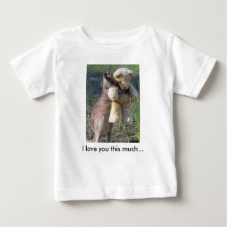 I love you this much... Wallaby hugging teddybear Baby T-Shirt