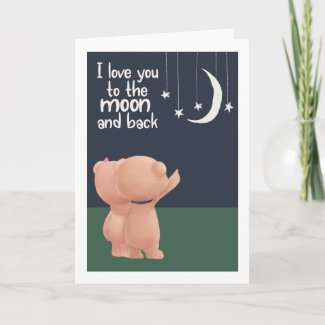 I love you to moon and back bears Valentines Day Holiday Card